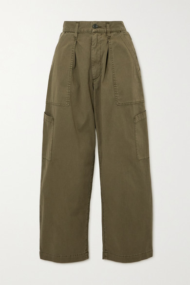 AGOLDE - Mari Cotton-twill Tapered Pants - Green