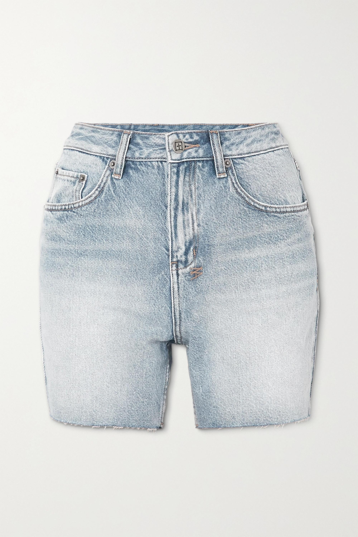 Ksubi Racer frayed denim shorts