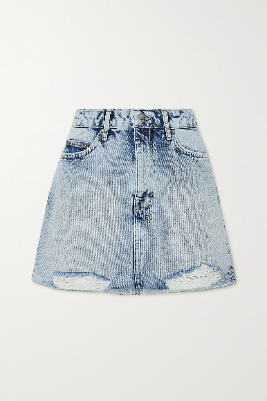 Ksubi Mini-Jeansrock in Acid-Waschung und Distressed-Optik