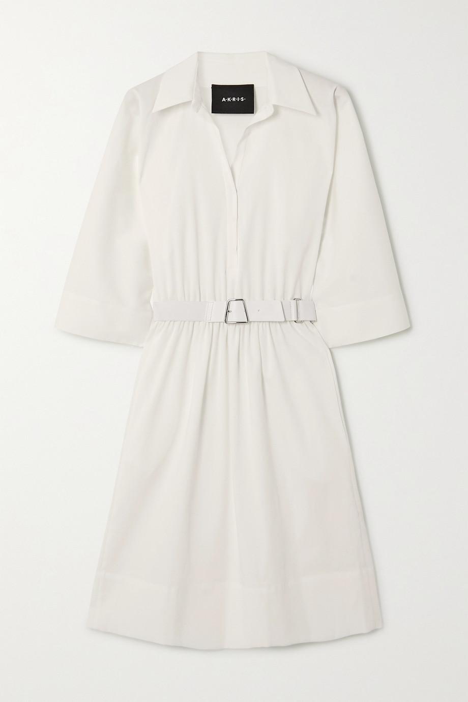Akris Hemdblusenkleid aus Baumwollpopeline mit Gürtel
