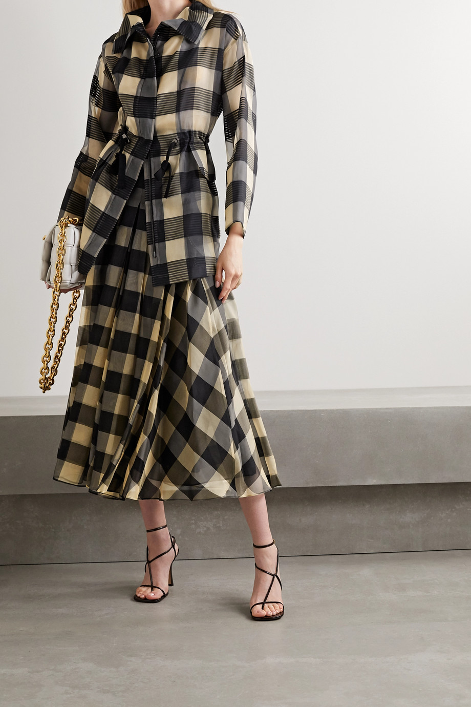 Akris Checked mulberry silk-organza jacquard jacket