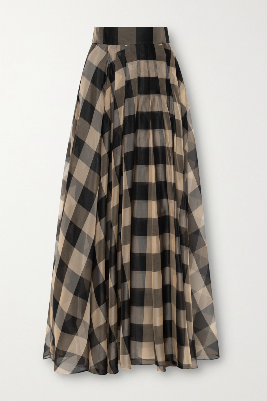 Akris Checked mulberry silk-organza jacquard maxi skirt