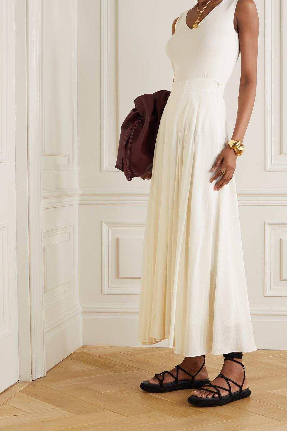 Akris Pleated bouclé maxi skirt