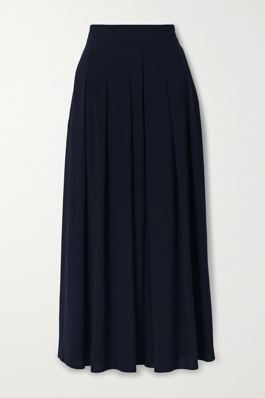 Akris Pleated wool-crepe midi skirt