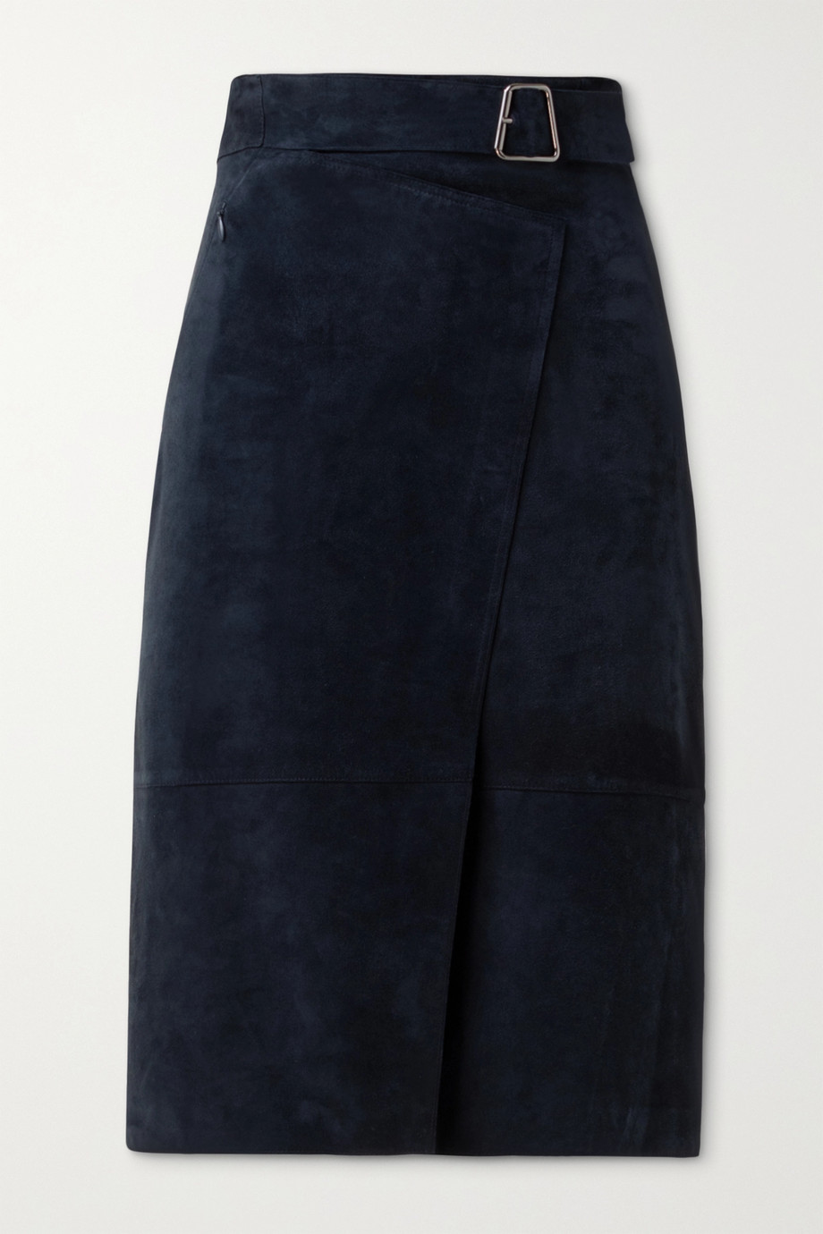 Akris Suede belted wrap-effect skirt