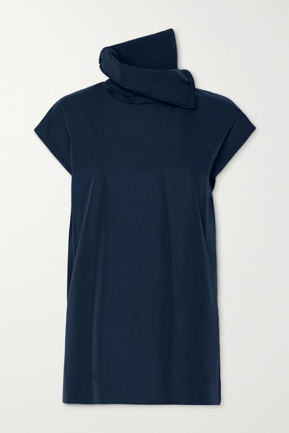 Akris Draped cotton-poplin blouse