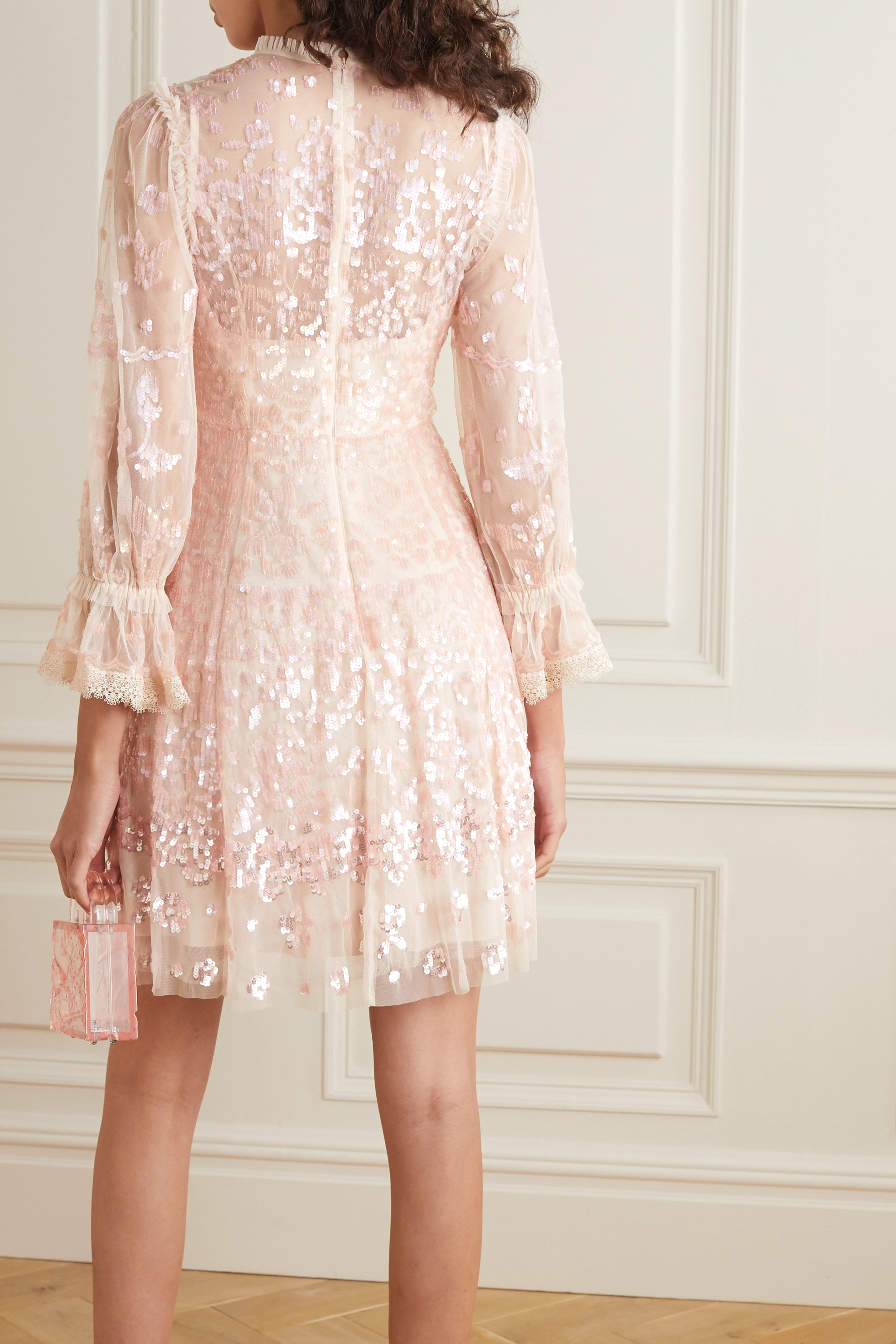 Needle & Thread Lace-trimmed sequin-embellished tulle mini dress