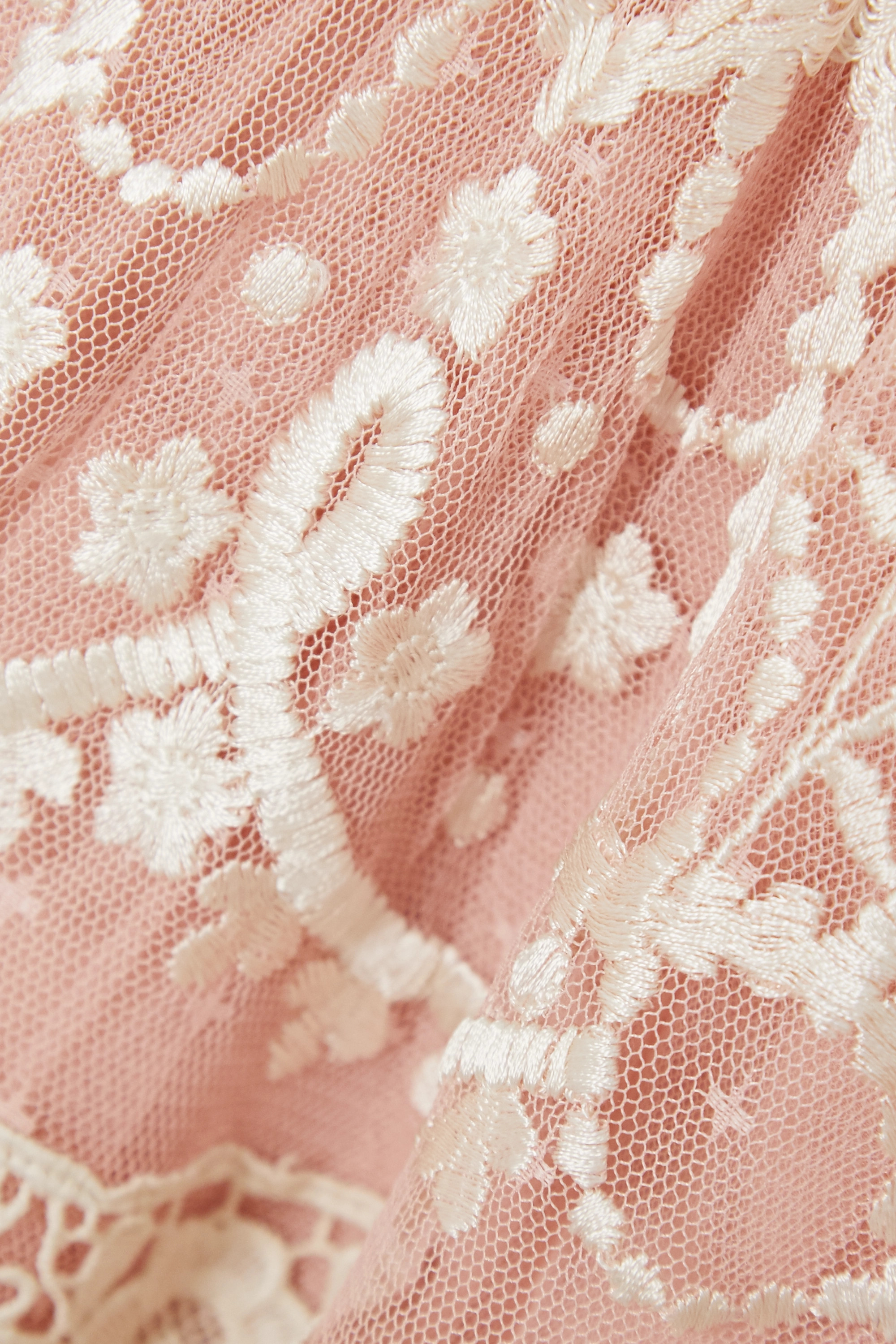 Baby Pink Midsummer Lace-trimmed Embroidered Tulle Gown | Needle & Thread
