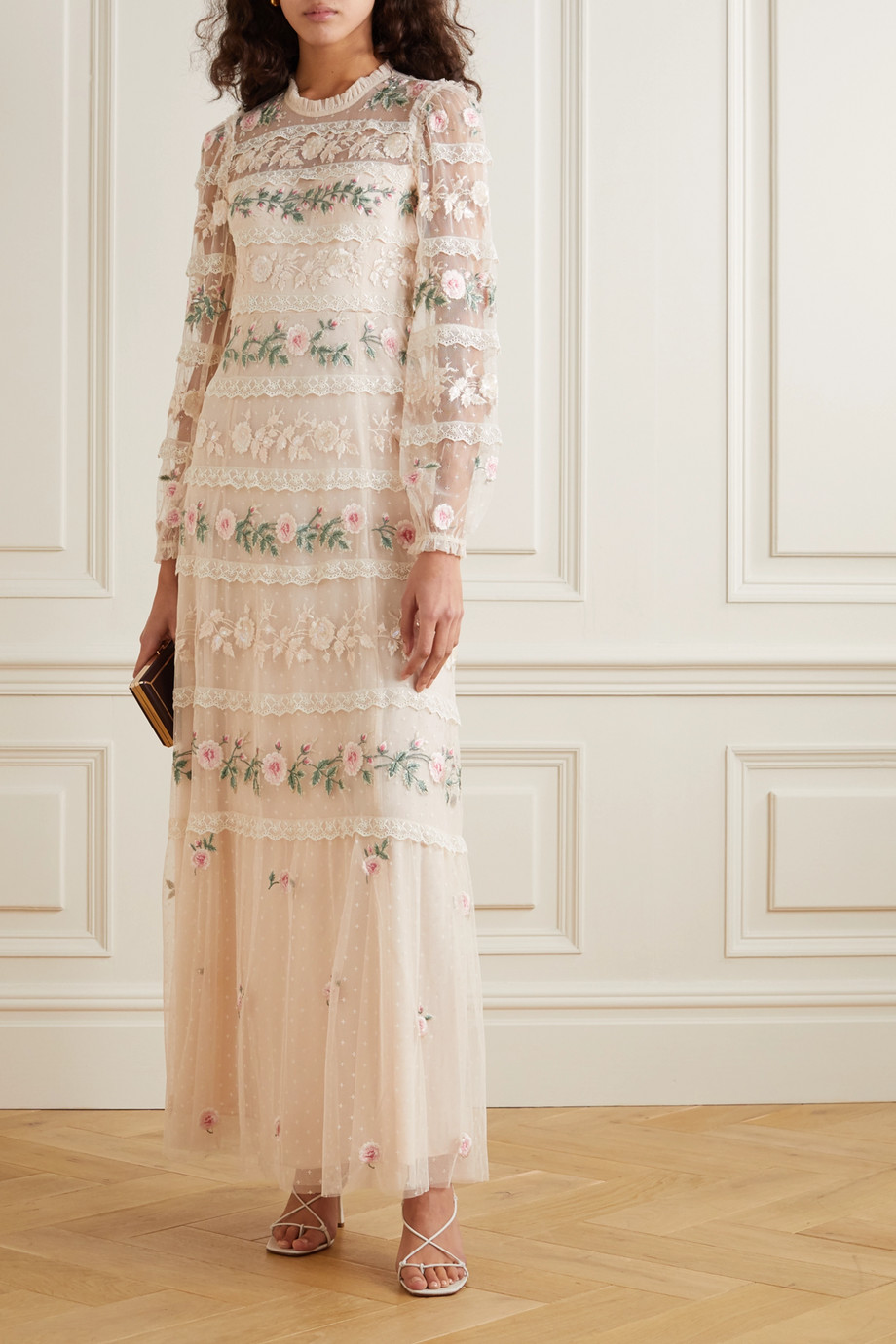 Needle & Thread Precious Rose sequin-embellished lace-trimmed embroidered tulle gown