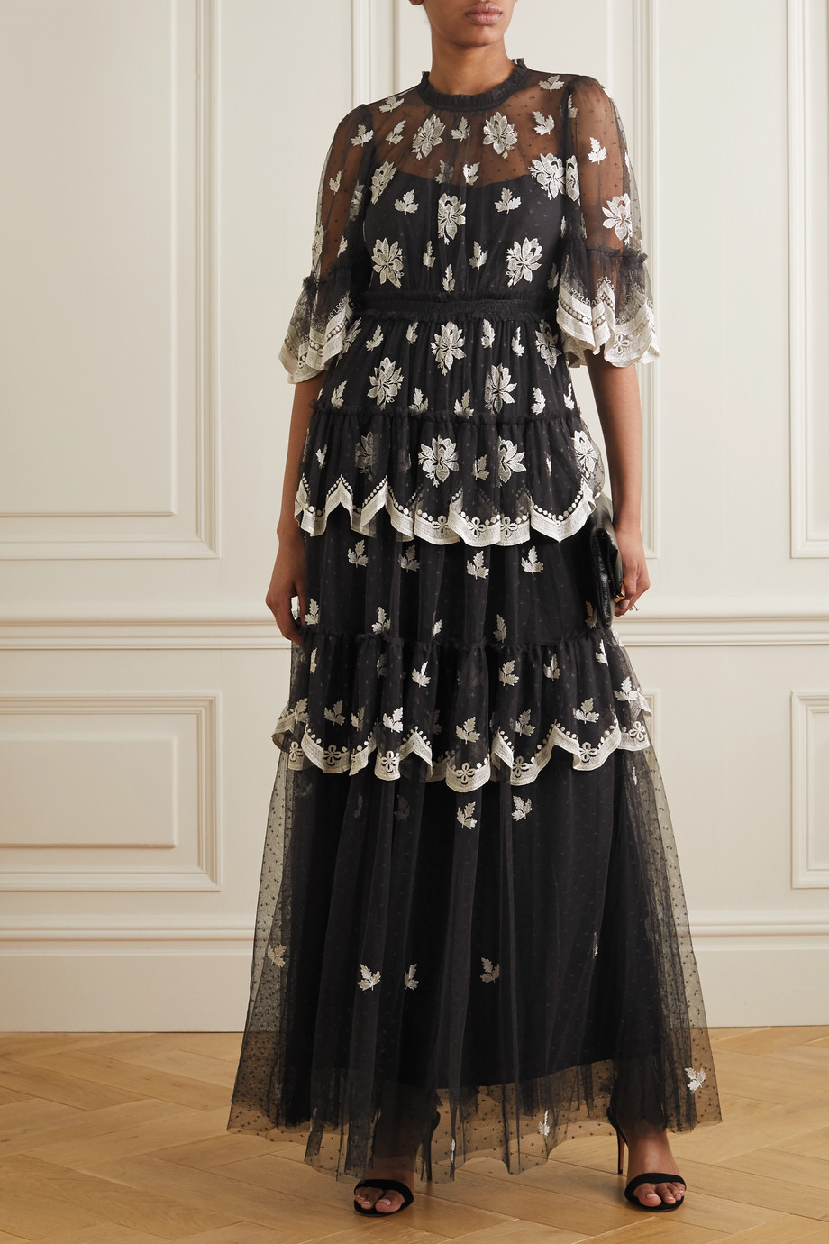 Needle & Thread Amber Petal tiered embroidered Swiss-dot tulle gown