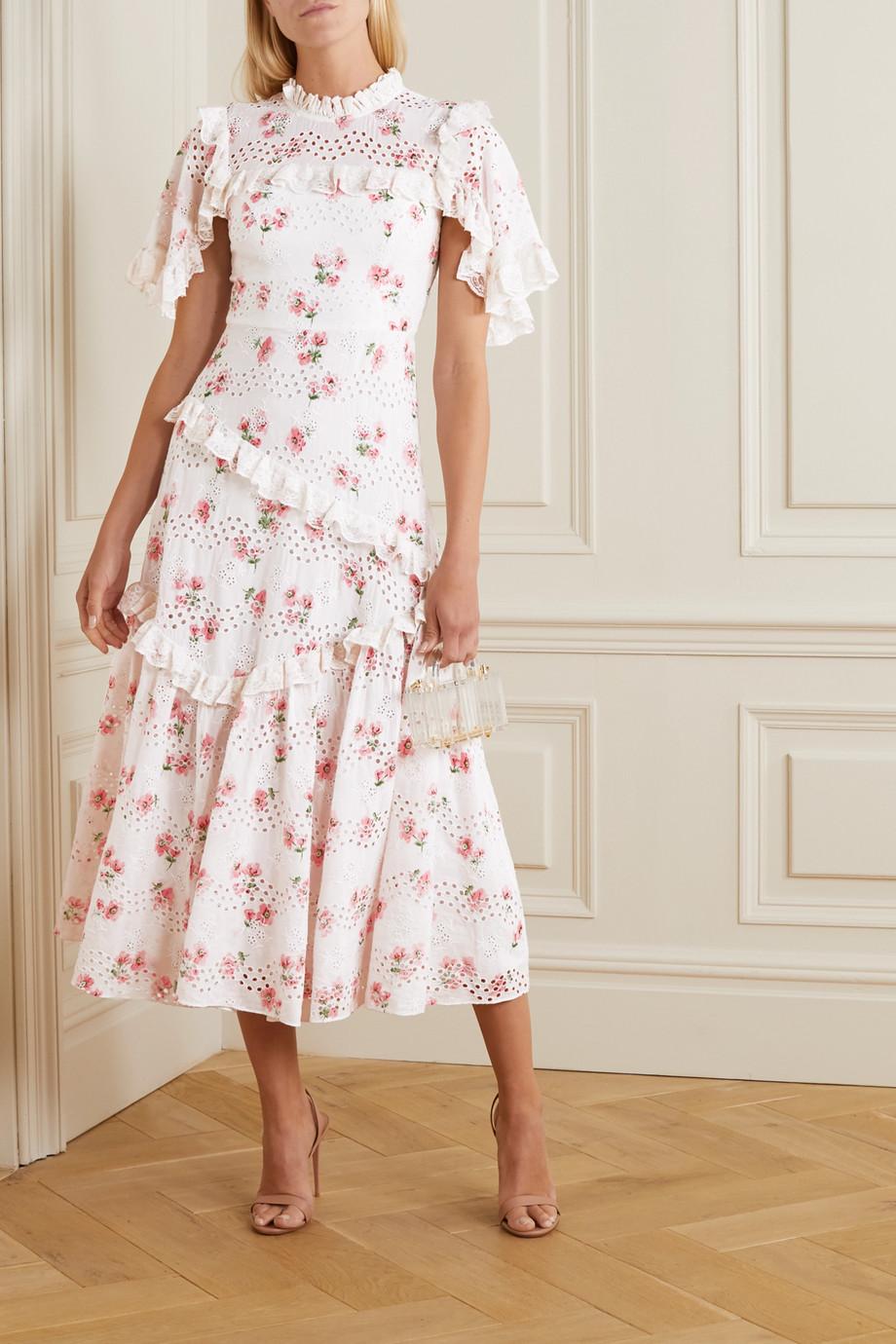 Needle & Thread Desert Rose ruffled floral-print broderie anglaise cotton-blend midi dress