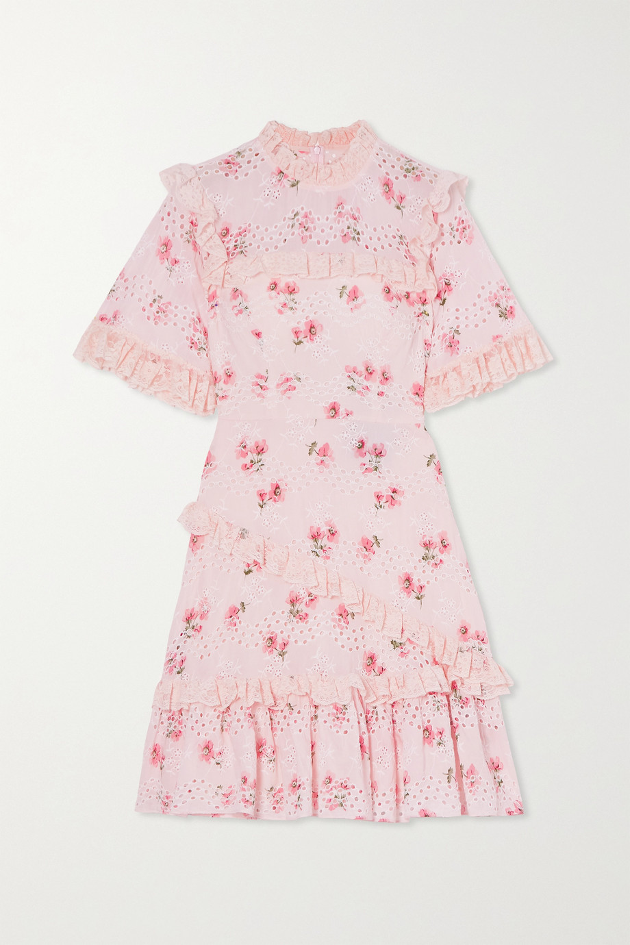 Needle & Thread Desert Rose ruffled floral-print broderie anglaise cotton-blend mini dress