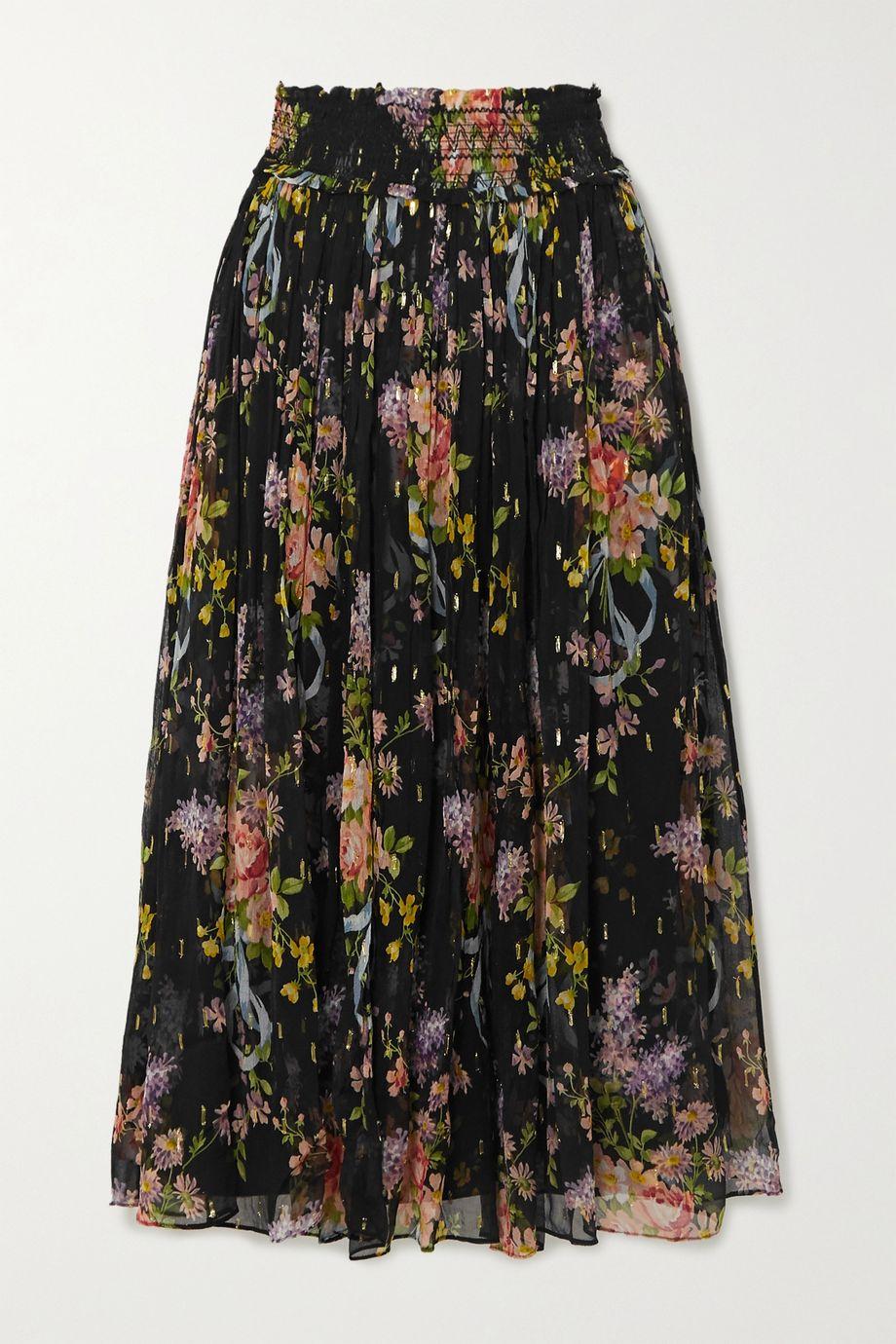 Needle & Thread 皱褶装饰金属感花卉印花刺绣提花雪纺绸中长半身裙