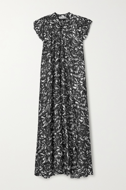 Balenciaga Asymmetrisches Midikleid aus Seiden-Jacquard mit Blumenprint