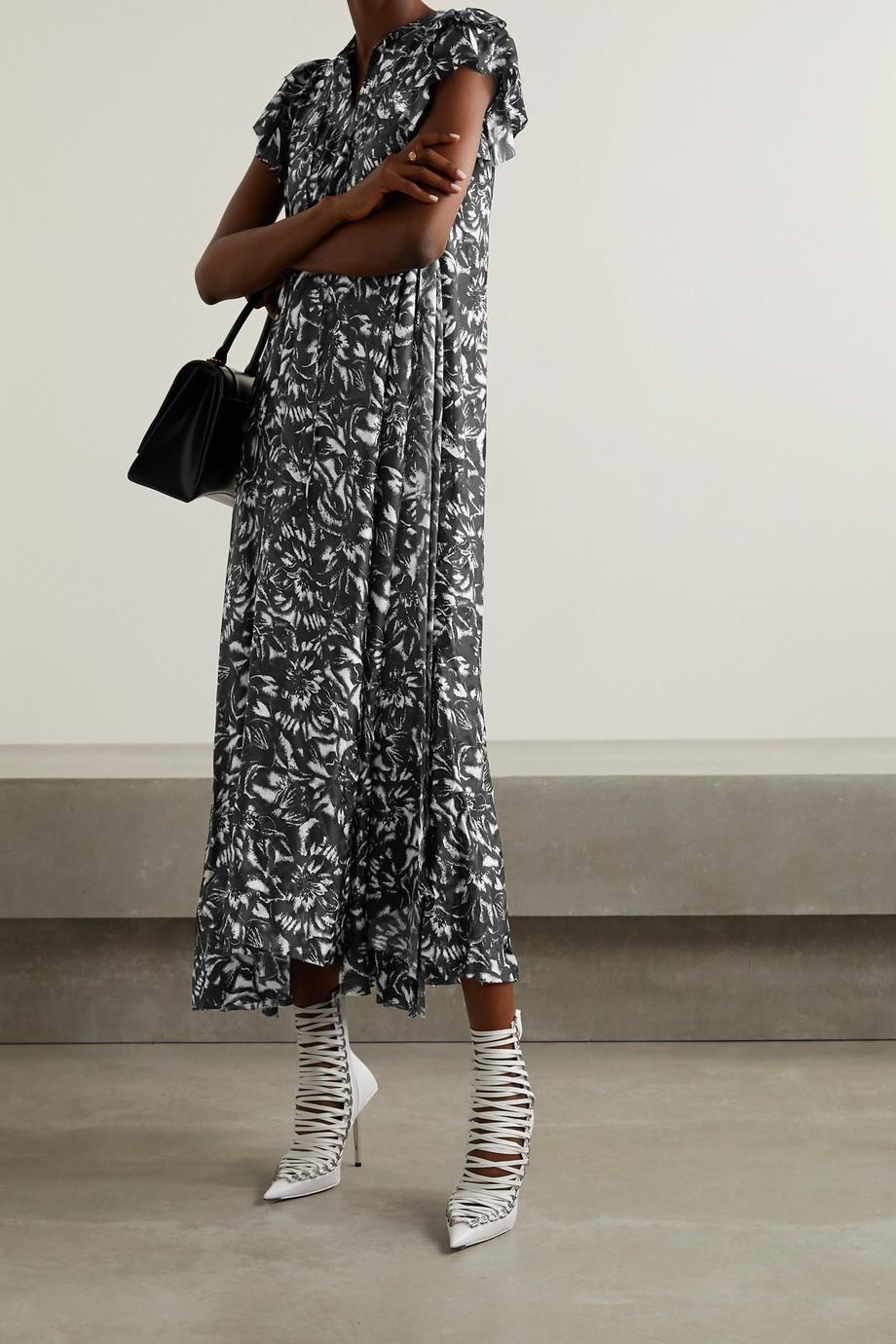 Balenciaga Asymmetric floral-print silk-jacquard midi dress