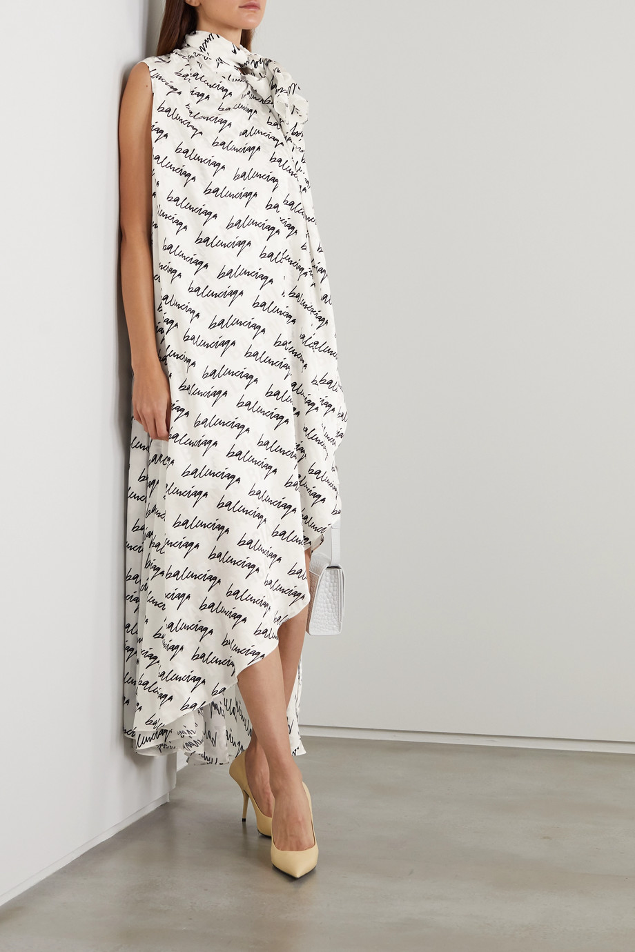 Balenciaga Draped asymmetric printed silk-jacquard dress