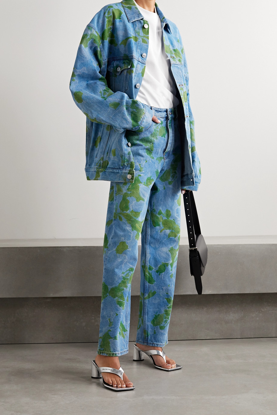 Balenciaga Oversized floral-print denim jacket