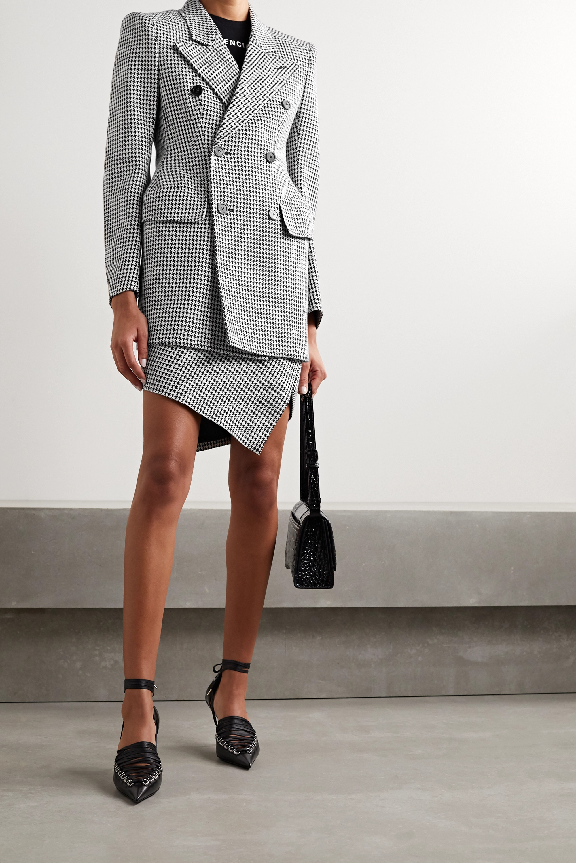 Balenciaga Hourglass double-breasted houndstooth wool-blend blazer