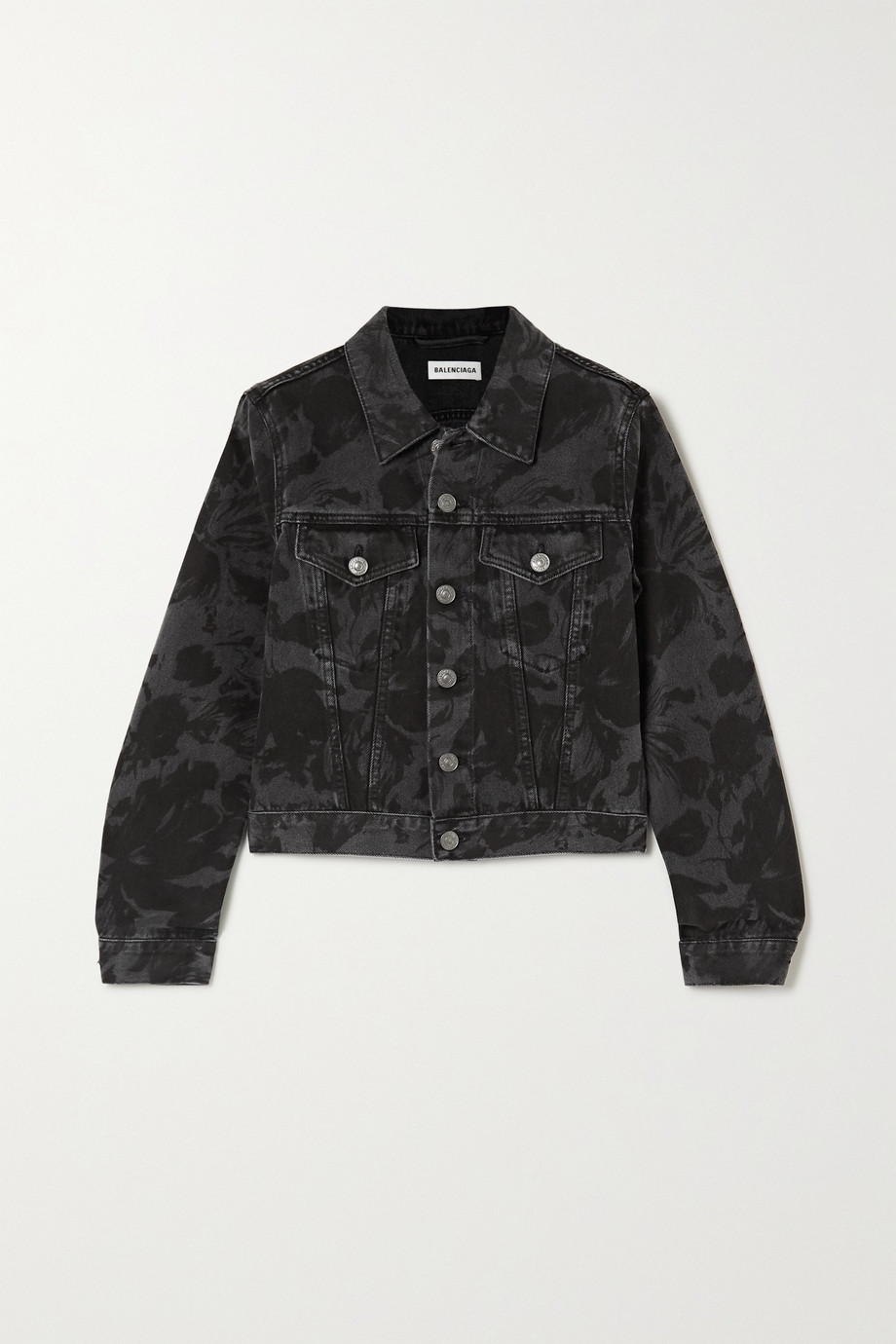 Balenciaga Cropped floral-print denim jacket
