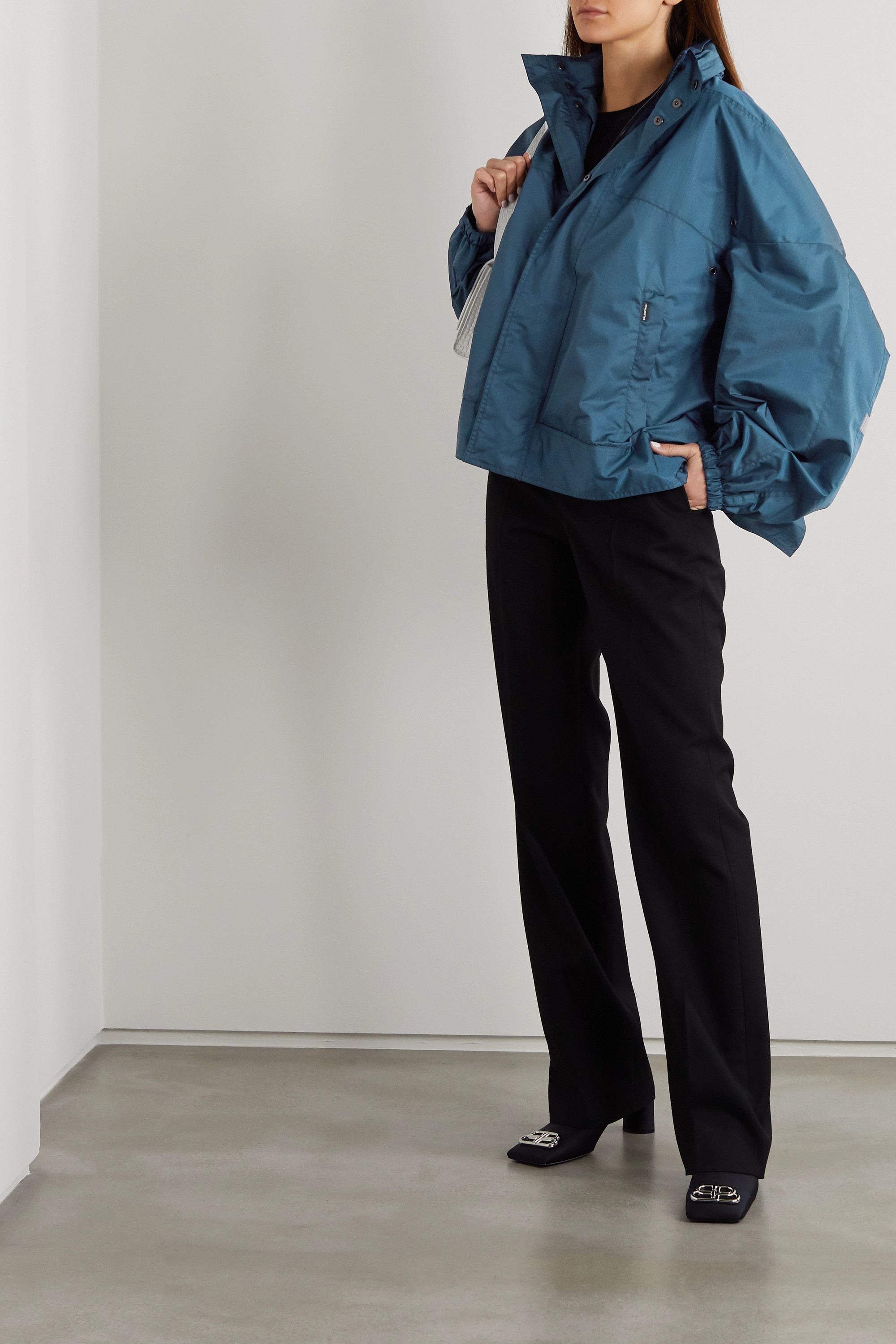Balenciaga Oversized hooded shell jacket