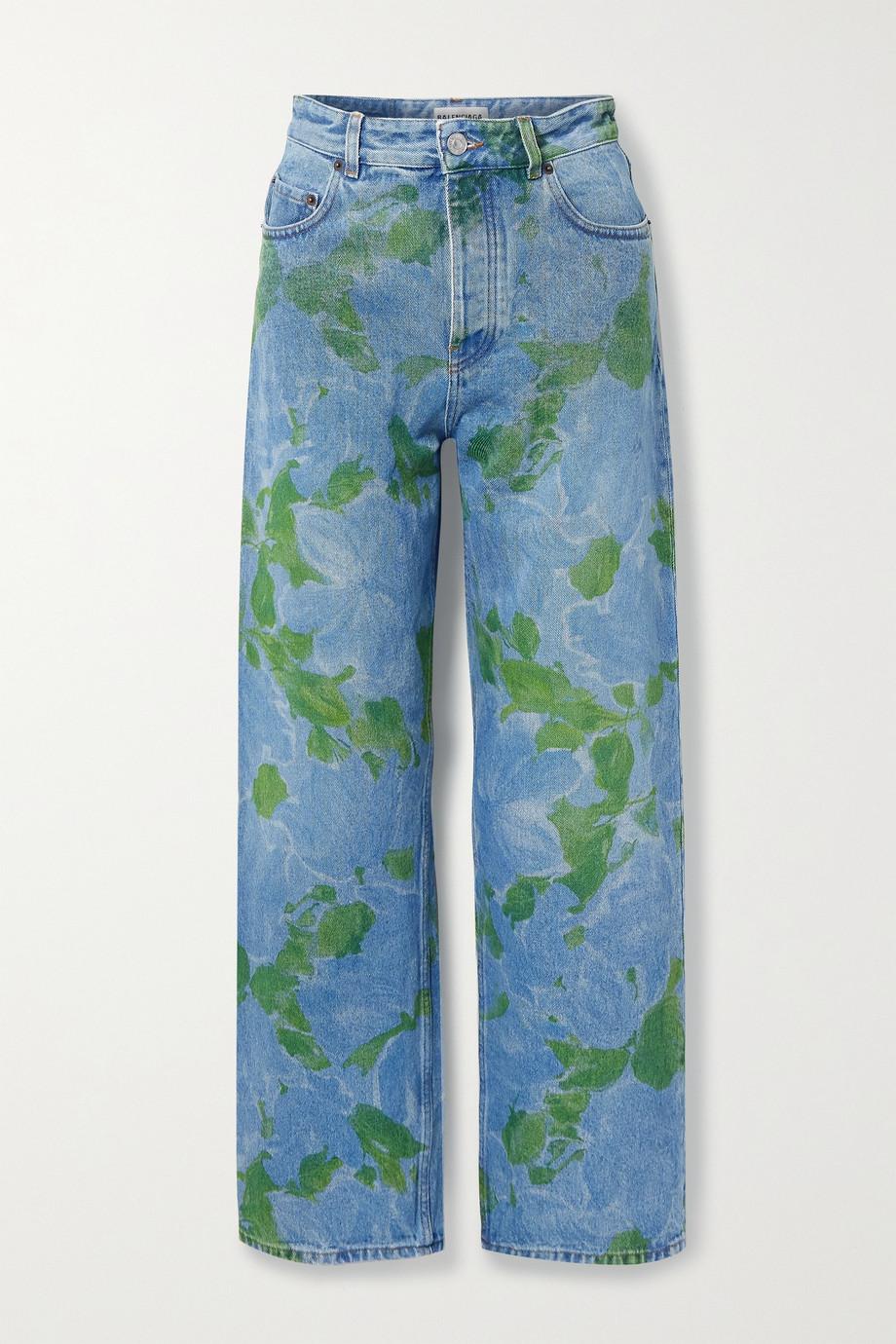 Balenciaga Floral-print high-rise straight-leg jeans