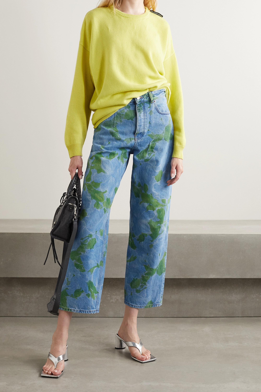 Balenciaga Hoch sitzende Jeans mit geradem Bein und Blumenprint
