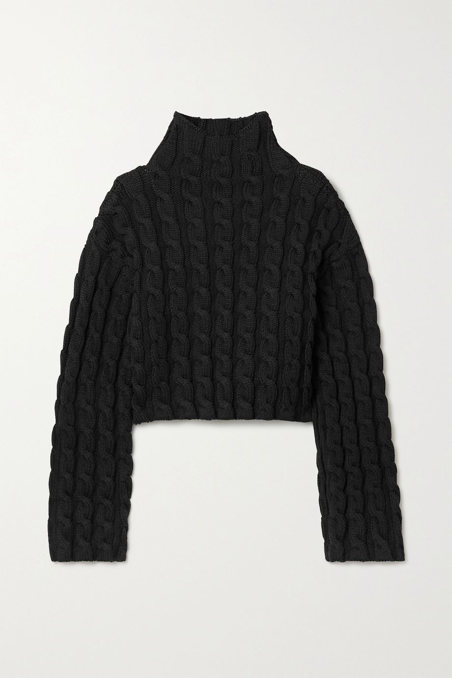 Balenciaga Cropped cable-knit turtleneck sweater