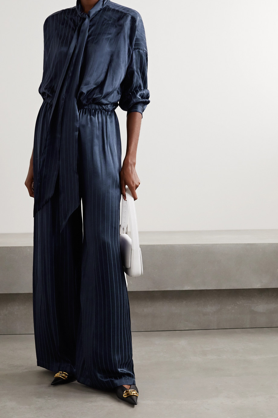 Balenciaga Pleated satin-jacquard wide-leg pants