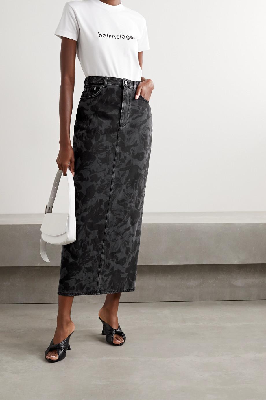 Balenciaga Floral-print denim midi skirt