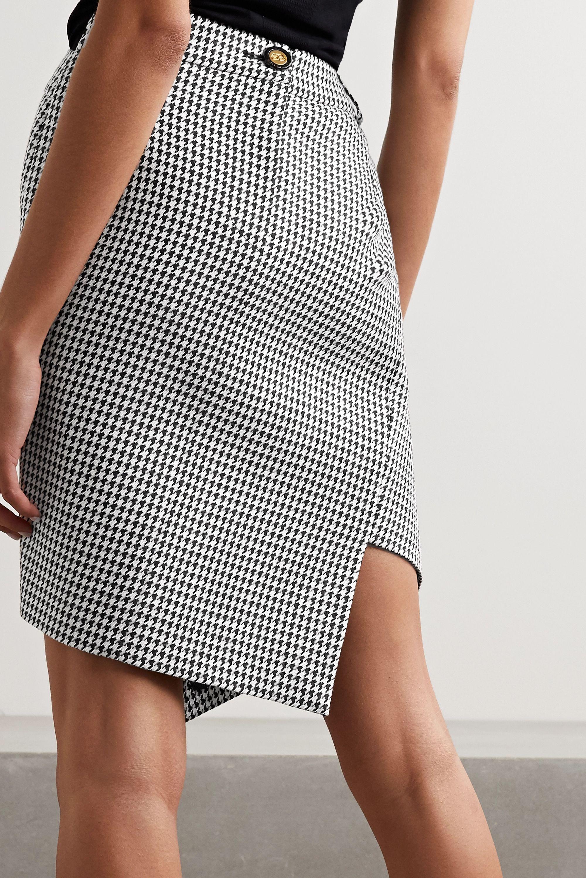 Balenciaga Asymmetric houndstooth wool-blend skirt