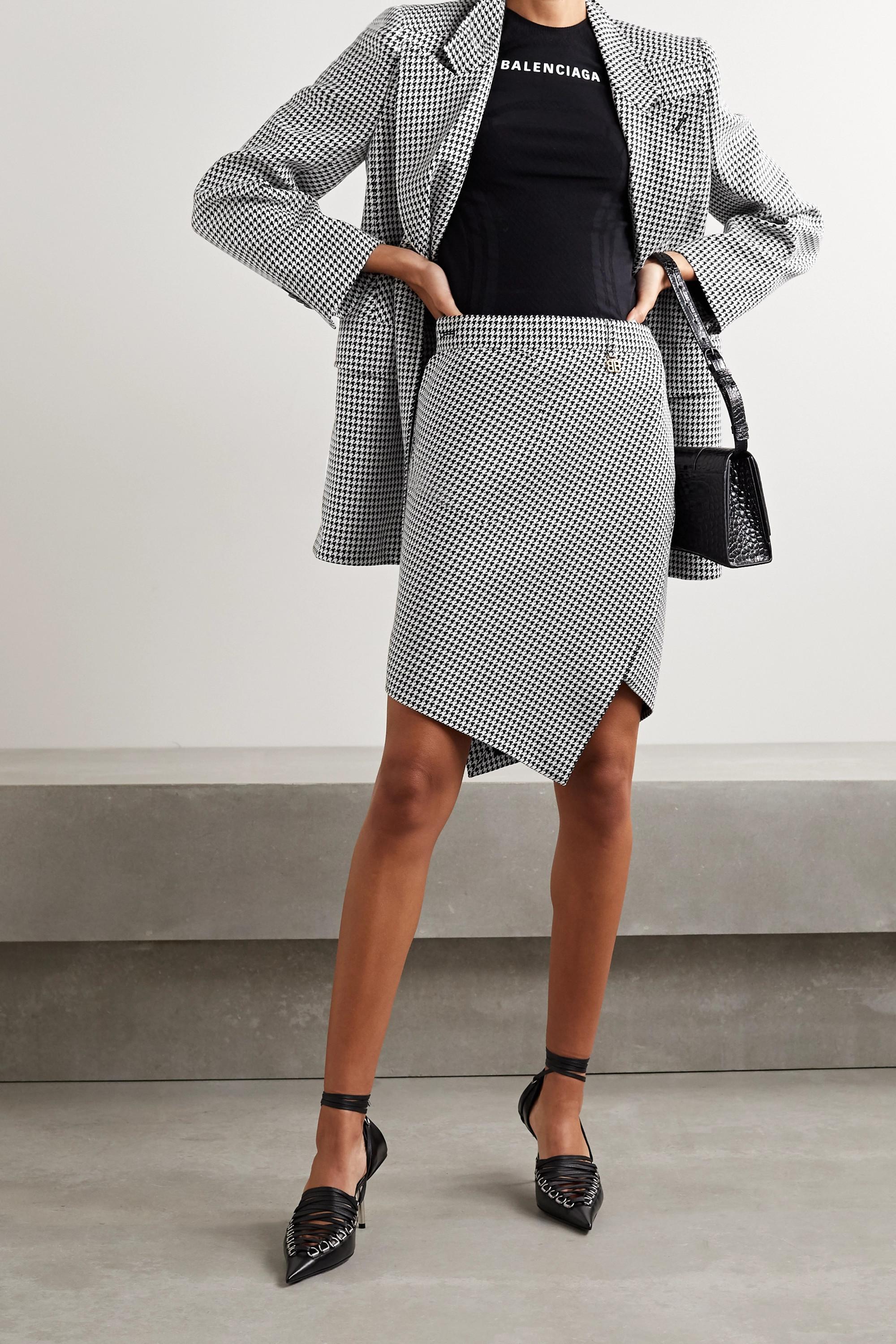 Balenciaga Asymmetrischer Rock aus einer Wollmischung mit Hahnentrittmuster