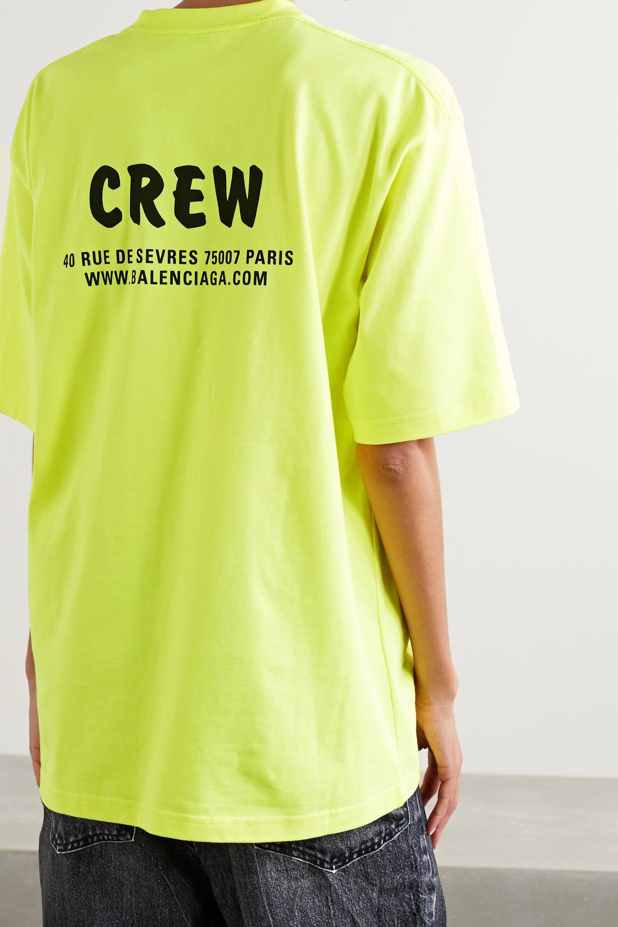 Balenciaga Oversized neon printed cotton-jersey T-shirt