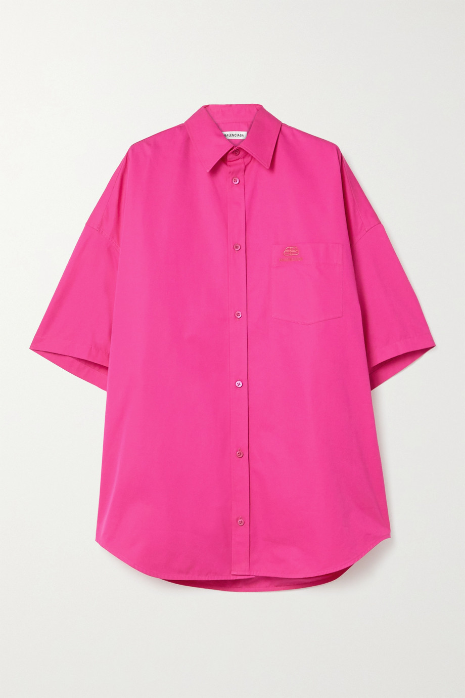 Balenciaga Oversized embroidered cotton-poplin shirt
