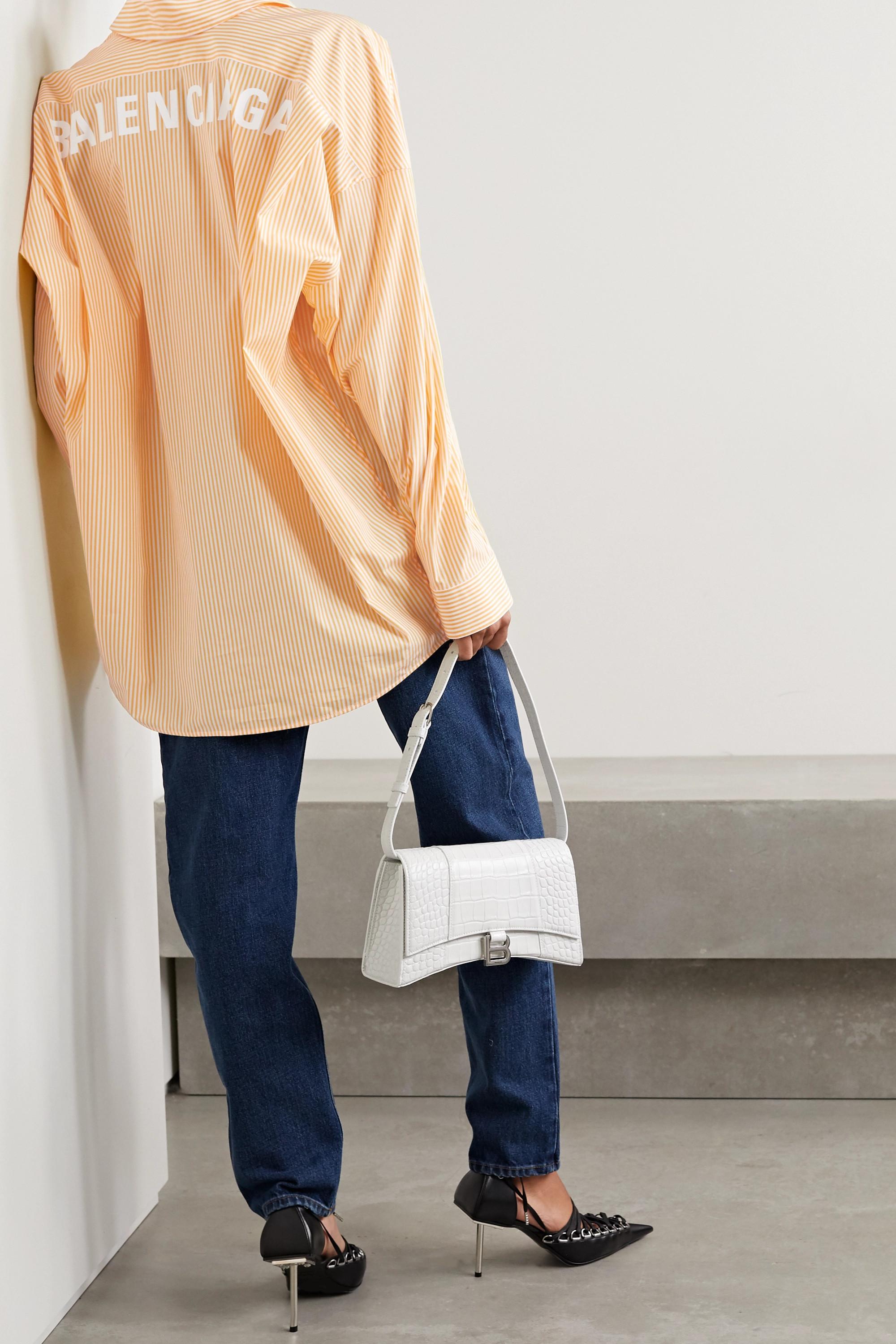 Balenciaga Oversized printed striped cotton-poplin shirt
