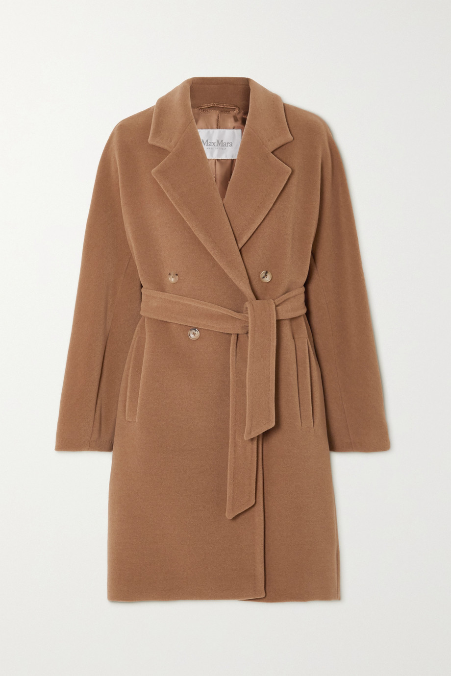 Max Mara Belted double-breasted camel hair and wool-blend coat