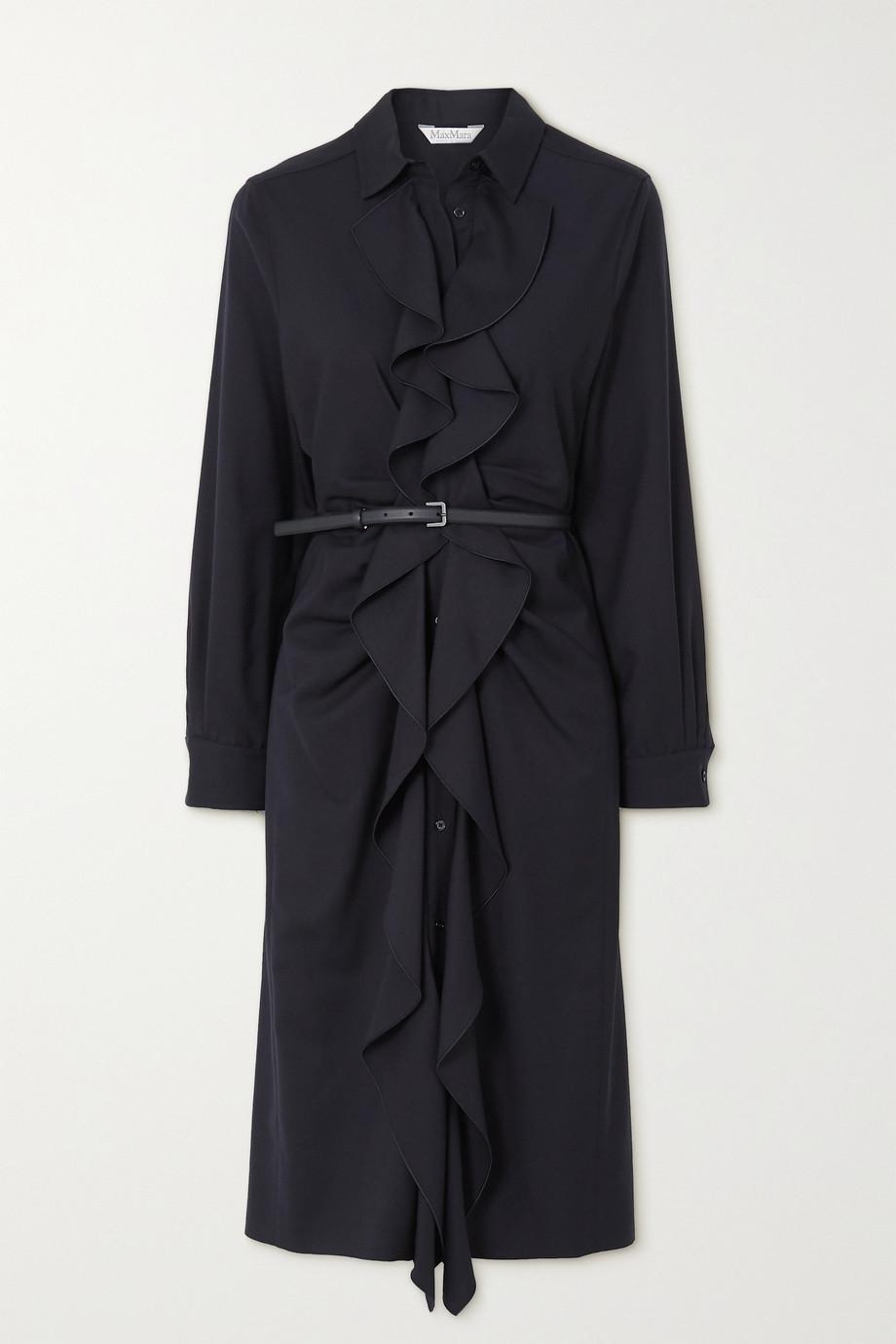 Max Mara Riom belted ruffled wool-twill dress