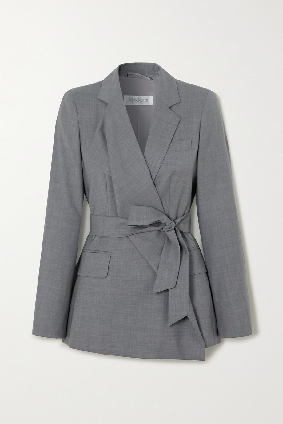 Max Mara Belluno belted asymmetric wool blazer