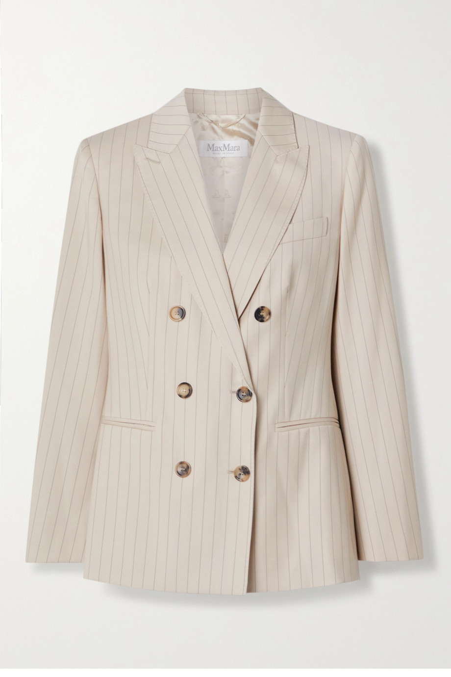 Max Mara Zinco double-breasted pinstriped wool-twill blazer