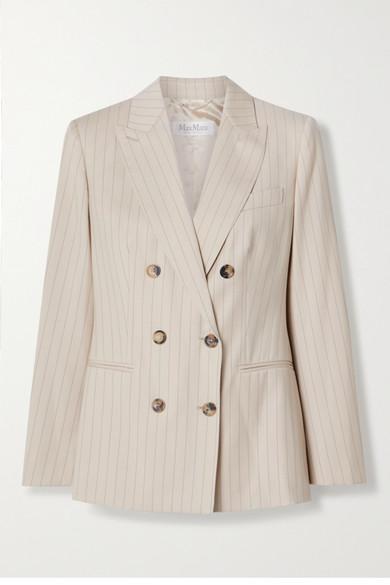 Max Mara - Zinco 双排扣细条纹羊毛斜纹布西装外套 - 浅褐色 - UK14