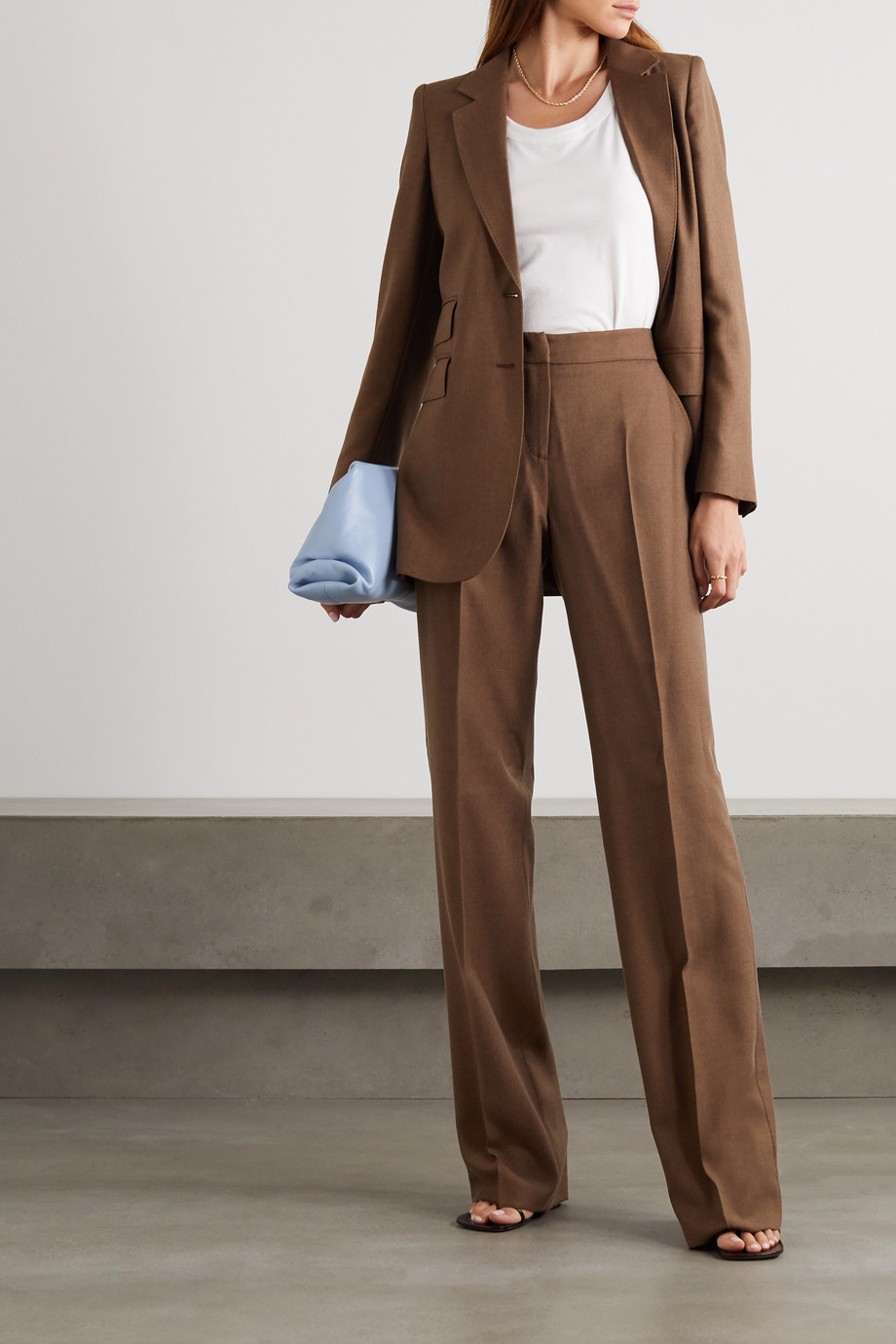 Max Mara Bea camel hair and silk-blend straight-leg pants