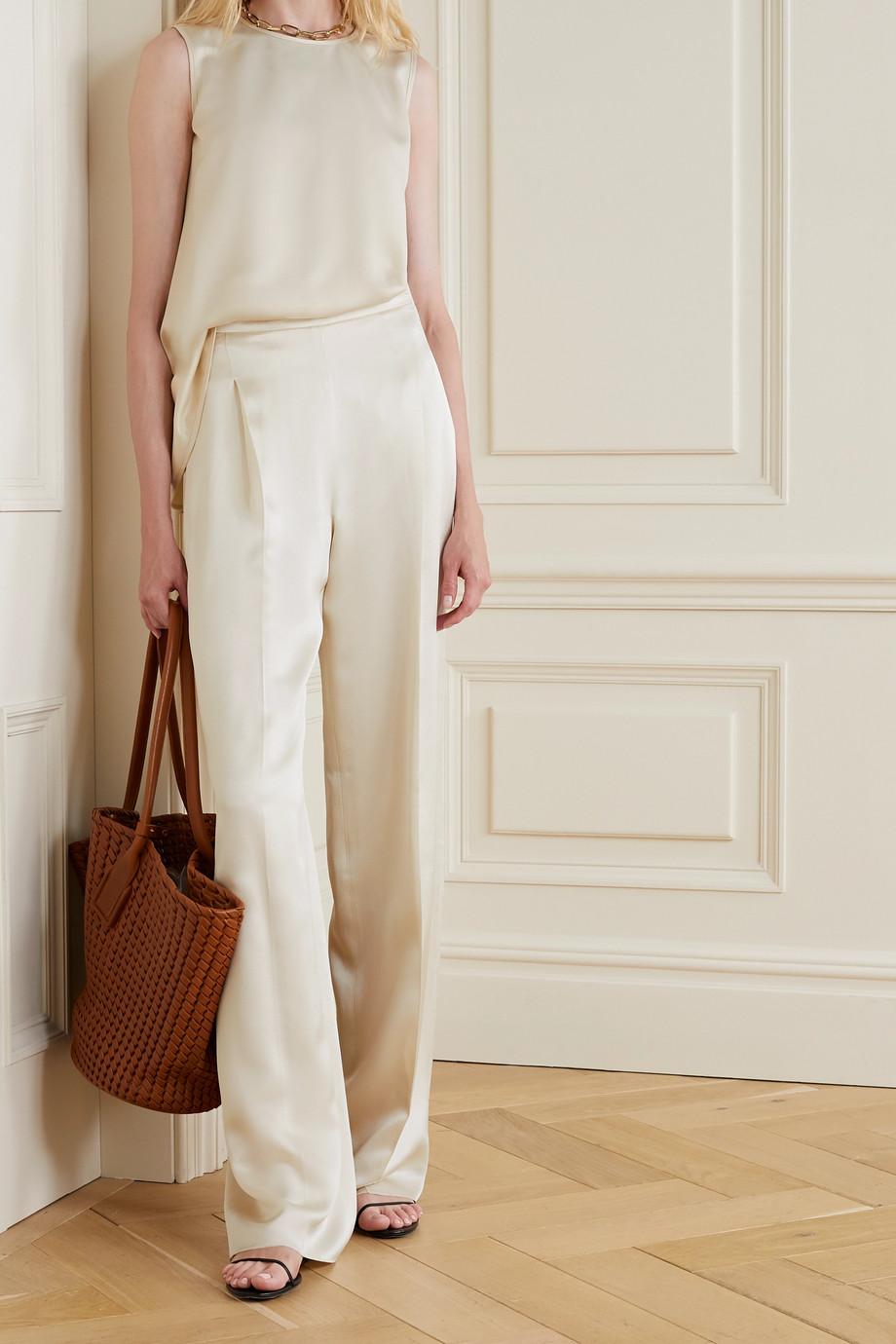 Max Mara Eremi pleated silk-satin wide-leg pants