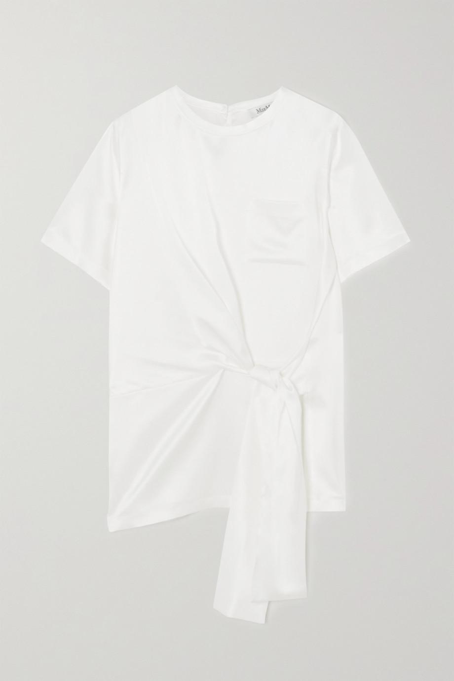 막스마라 Max Mara Tie-front silk-satin T-shirt,White
