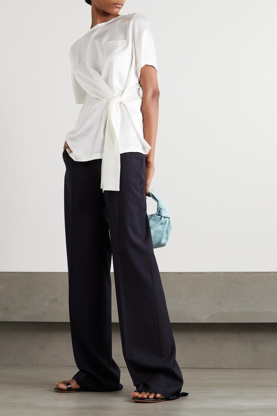 Max Mara Tie-front silk-satin T-shirt