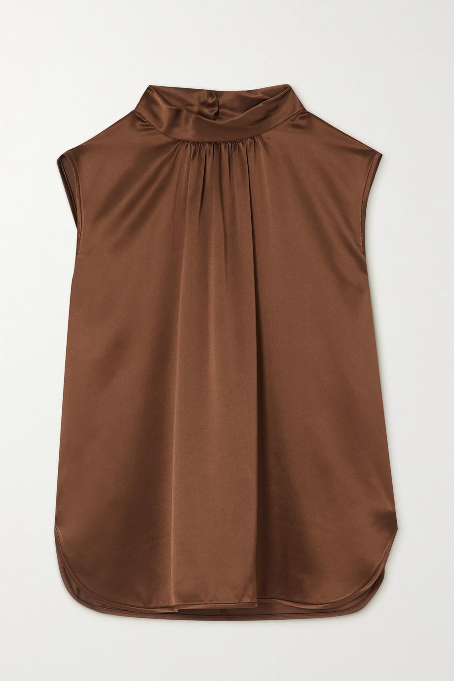 Max Mara Dorina gathered silk-satin blouse