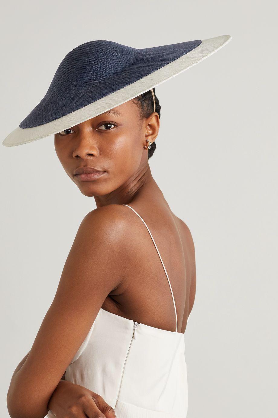 Philip Treacy Two-tone sinamay straw hat