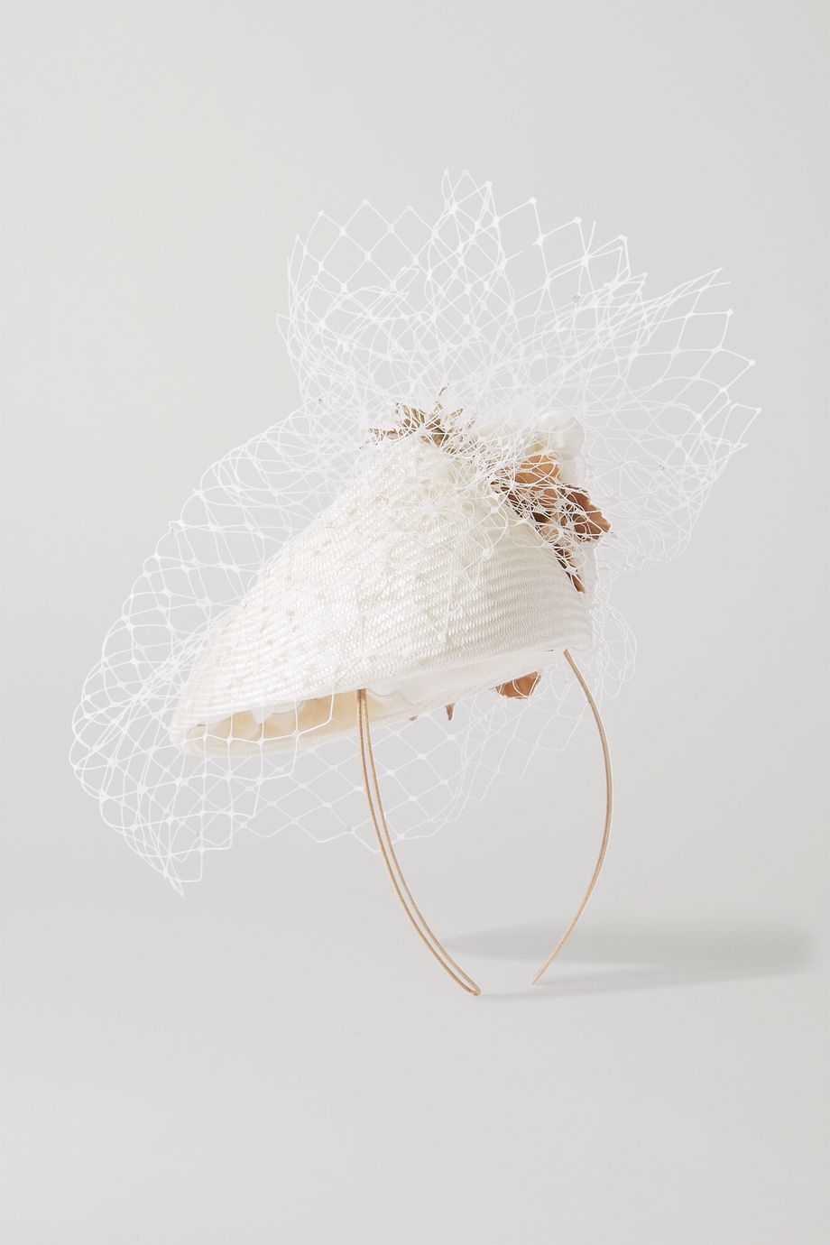 Philip Treacy Embellished straw and netting headband