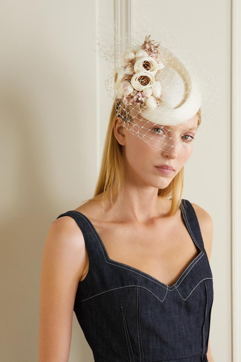 Philip Treacy Embellished straw and netting headband