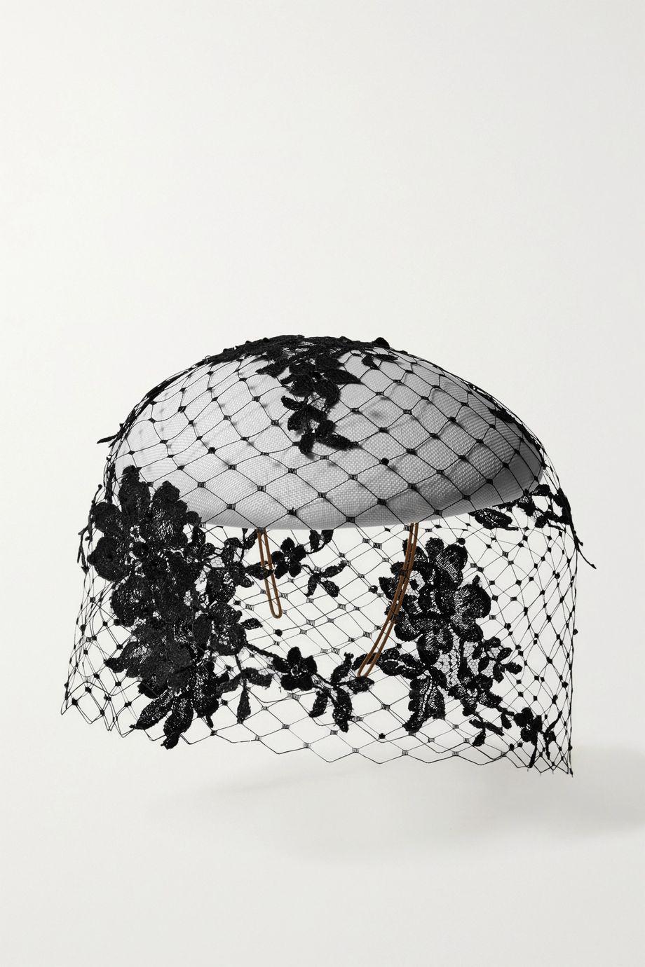 Philip Treacy 水晶缀饰蕾丝编织草礼帽