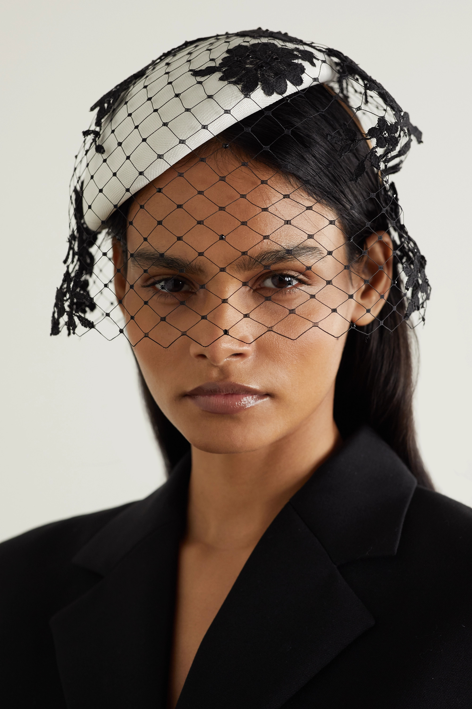 Philip Treacy Crystal-embellished lace and straw fascinator