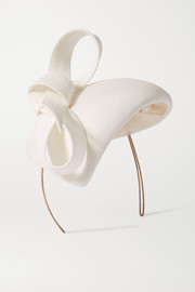 Philip Treacy Bow-detailed straw fascinator